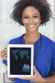 African American Female Doctor With Tablet Computer — Stock Photo