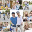 Montage of Happy Active Family Healthy Eating — Stock Photo