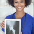 African American Woman Doctor X-Ray Tablet Computer — Stock Photo #26917641