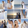 Montage of Romantic Couple Beach Wedding — Stock Photo #26919237