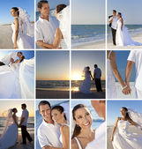 Montage of Romantic Couple Beach Wedding — Stock Photo