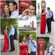 Montage of Romantic Couple in London England — Stock Photo