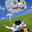 Man Dreaming Family Vacation Holiday Desk Green Field — Stock Photo