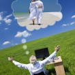 Businessman Dreaming Vacation Retirement Desk Green Field — Foto Stock