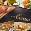 Mediterranean Healthy Food & Menu Montage — Stock Photo
