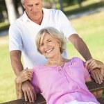 Happy Senior Couple Smiling Outside in Sunshine — Stock Photo #26922769