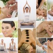 Montage Women Relaxing at Health Spa — Stock Photo