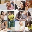 Women Using Laptop Tablet Computers Cell Phones Montage — Stock Photo