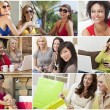 Montage of Modern Women Leisure Lifestyle — Stock Photo