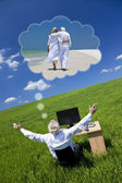 Businessman Dreaming Vacation Retirement Desk Green Field — Stock Photo