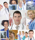 Montage of Medical Team Nurses & Doctor — Stock Photo