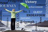 Başarılı bir kadın yeşil şemsiye & erime buzul — Stok fotoğraf