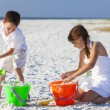 Children, Boy, Girl, Brother & Sister Playing on Beach — Stock Photo