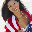 Beautiful Asian Woman Girl in American Flag on Beach — Stock Photo