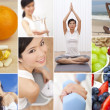 Montage Oriental Female Woman Healthy Lifestyle — Stock Photo