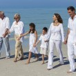 Grandparents, Mother, Father Children Family Walking Beach — Stock Photo