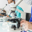 Asian Woman Doctor Scientist Using Microscope In Laboratory — Stock Photo