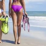 Rear View Beautiful Bikini Women At Beach — Stock Photo #31695155