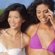 Beautiful Bikini Women At Beach Asian & Hispanic — Stock Photo