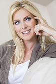 Blond Woman With Blue Eyes Smiling — Stock Photo