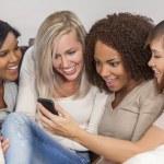 Beautiful Women Friends Using Smartphone — Stock Photo