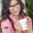Asian Chinese Woman Girl in Kitchen Drinking Coffee — Stock Photo