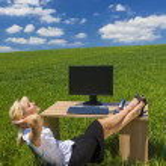 Business Woman Relaxing Office Desk Green Field — Stock Photo