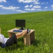 Business Woman Relaxing Office Desk Green Field — Stock Photo