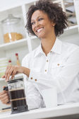 African American Girl Making Coffee — Stock Photo