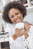 African American Girl Drinking Coffee — Stock Photo