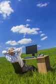 Business Man Businessman Working Desk Field — Stock Photo