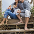 Asian Romantic Couple on Beach Steps — Stock Photo