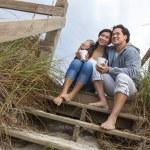 Asian Romantic Couple on Beach Steps — Stock Photo