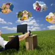 Stok fotoğraf: Businesswoman Day Dreaming in Field Office