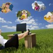 Stockfoto: Businesswoman Day Dreaming in Field Office