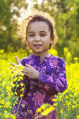 Girl Child in Field of Yellow Flowers — Stock Photo