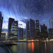 Nov 15th, 2012: Singapore Marina Bay Finance Center Star Trail - Stock Photo