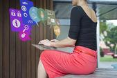 Asian Chinese Woman using virtual keyboard chatting — Stock Photo