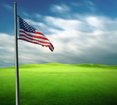 American flag in long exposure photography — Stock Photo