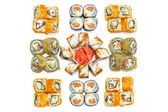 Set of Sushi roll, with shadows and reflection on a white backgr — Stok fotoğraf