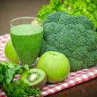Green smoothie - green juice - Stock Photo