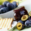 Stock Photo: Plum jam - marmalade for breakfast