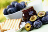 Plum jam - marmalade for breakfast — Stock Photo