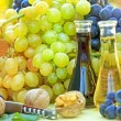 Stock Photo: Fresh grapes and wine on table