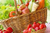 полная корзина свежих органических овощей — Стоковое фото