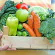 Stock Photo: Crate full of fresh organic food (fruit and vegetable)