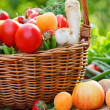 Stock Photo: Basket full of organic fruit and vegetables