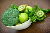 Igredients of green smoothie — Stock Photo