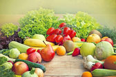 Fresh fruits and vegetables - organic food — Stock Photo