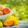 Stock Photo: Fresh organic apricots